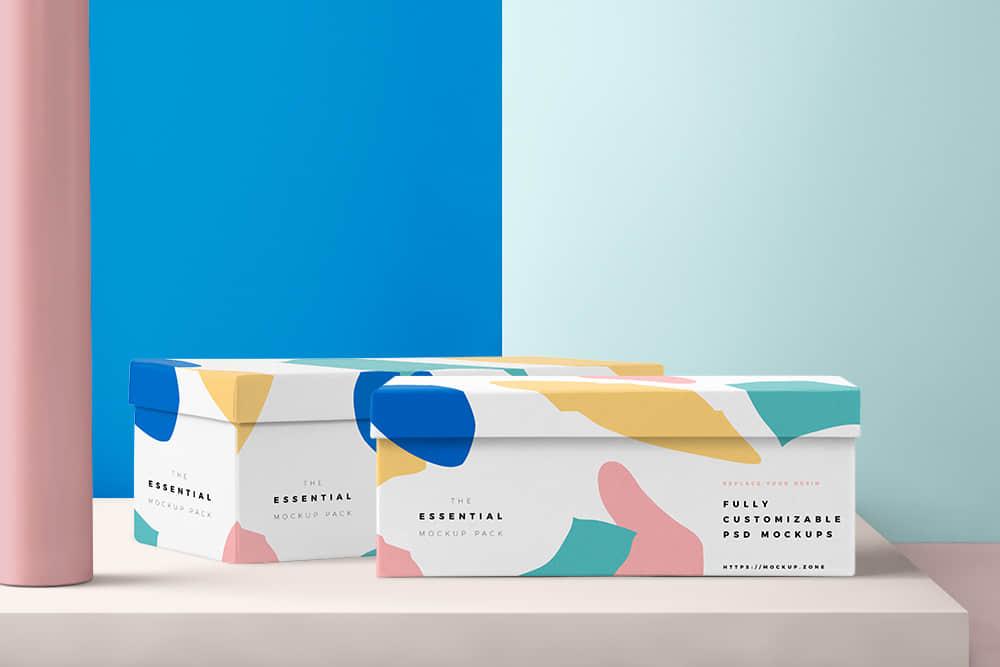 时尚礼盒效果图礼物包装纸盒模板包装智能贴图样机psd设计素材