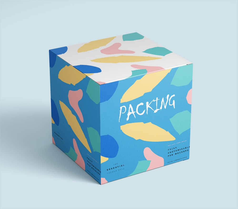 时尚礼盒智能贴图效果展示贴图psd设计素材模板礼物包装纸盒样机