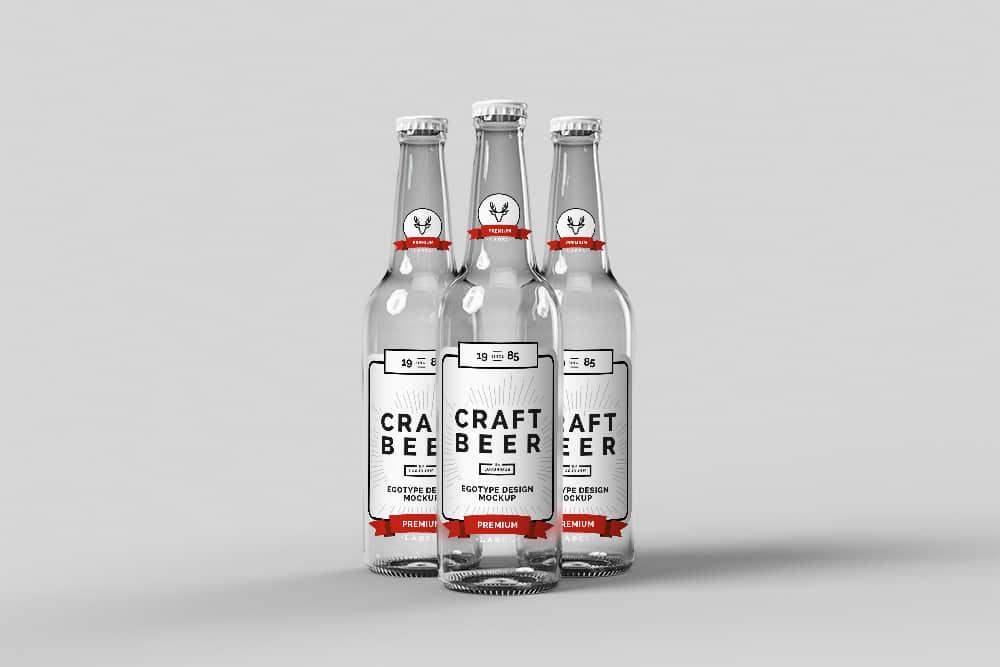 玻璃啤酒瓶效果图玻璃瓶智能贴图mockup模板玻璃酒瓶psd模板