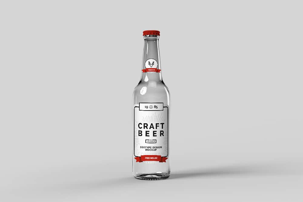 玻璃瓶智能贴图玻璃啤酒瓶效果图玻璃酒瓶psd格式mockup模板