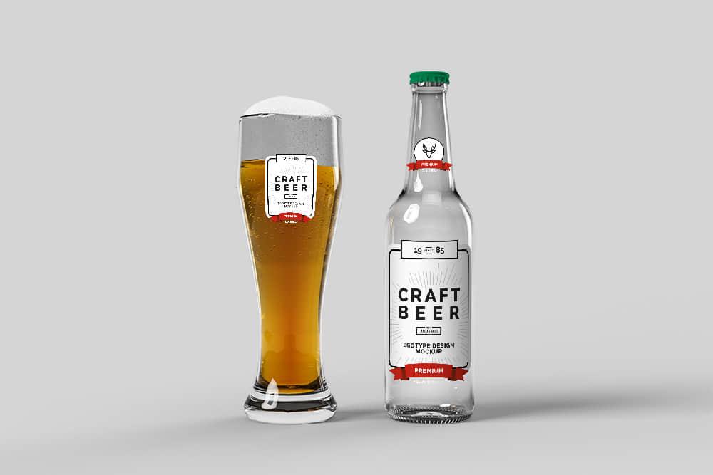 玻璃啤酒瓶效果图玻璃酒瓶psd格式玻璃瓶智能贴图mockup模板