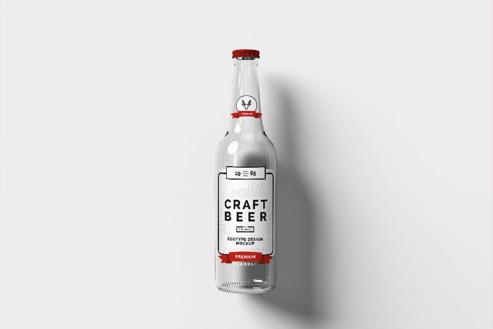 玻璃啤酒瓶效果图玻璃瓶智能贴图玻璃酒瓶mockup模板psd格式