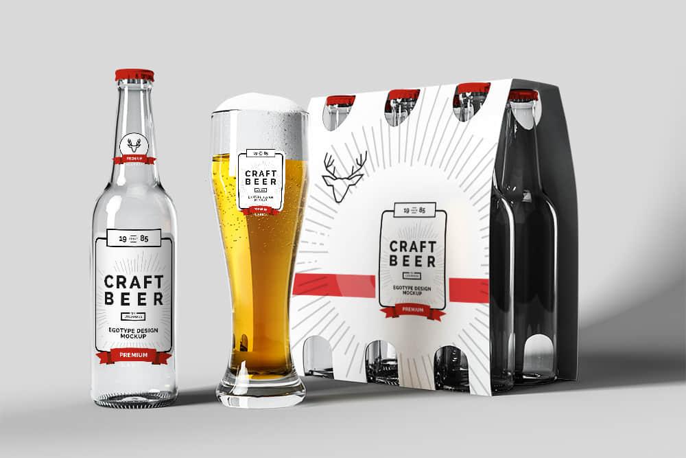 半打啤酒玻璃瓶6支玻璃瓶包装效果图啤酒杯智能贴图psd格式素材