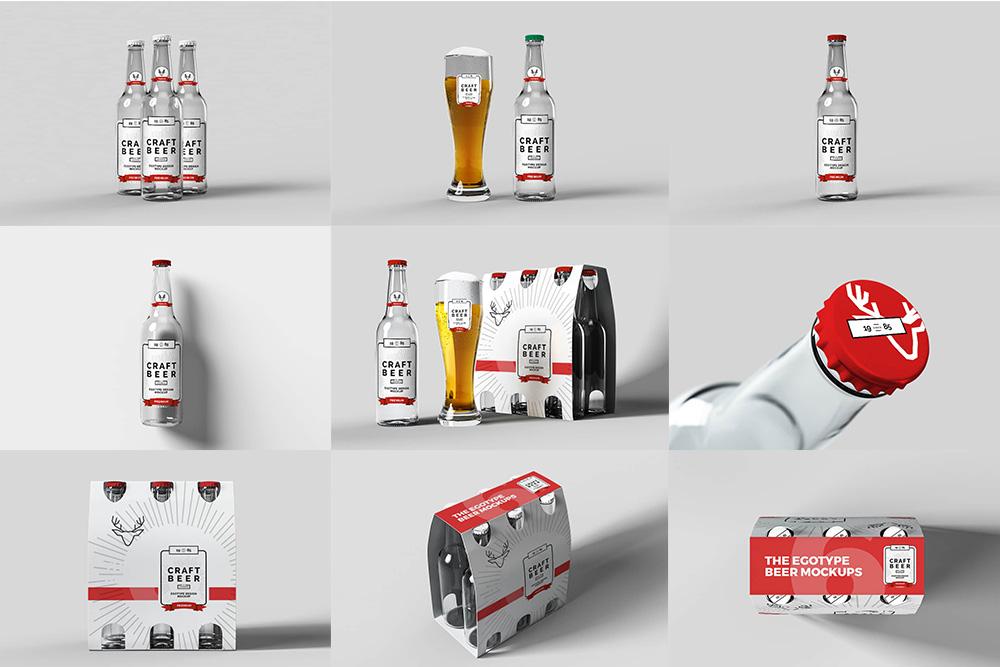 玻璃啤酒瓶效果图玻璃汽水瓶啤酒杯半打啤酒包装展示图合集