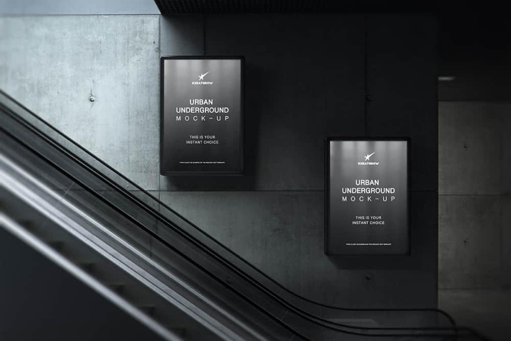 扶手电梯广告位mockup模板人行隧道广告牌地铁通道广告位样机海报展示效果图