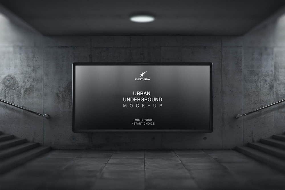 人行隧道广告牌mockup模板地铁通道广告位样机海报展示效果图