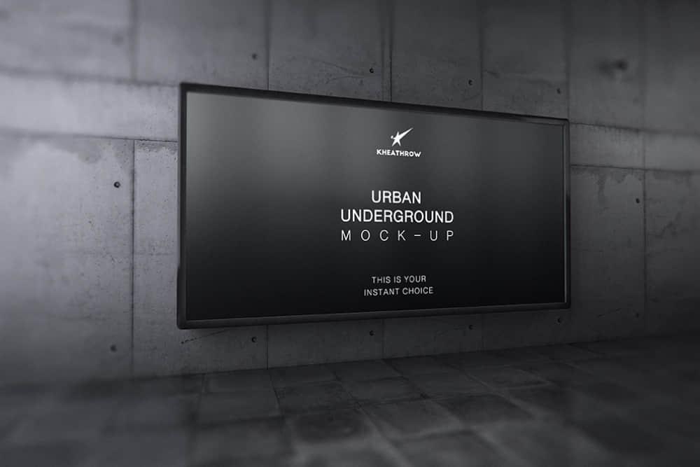地铁站广告位展示图人行隧道广告样机海报展示效果图