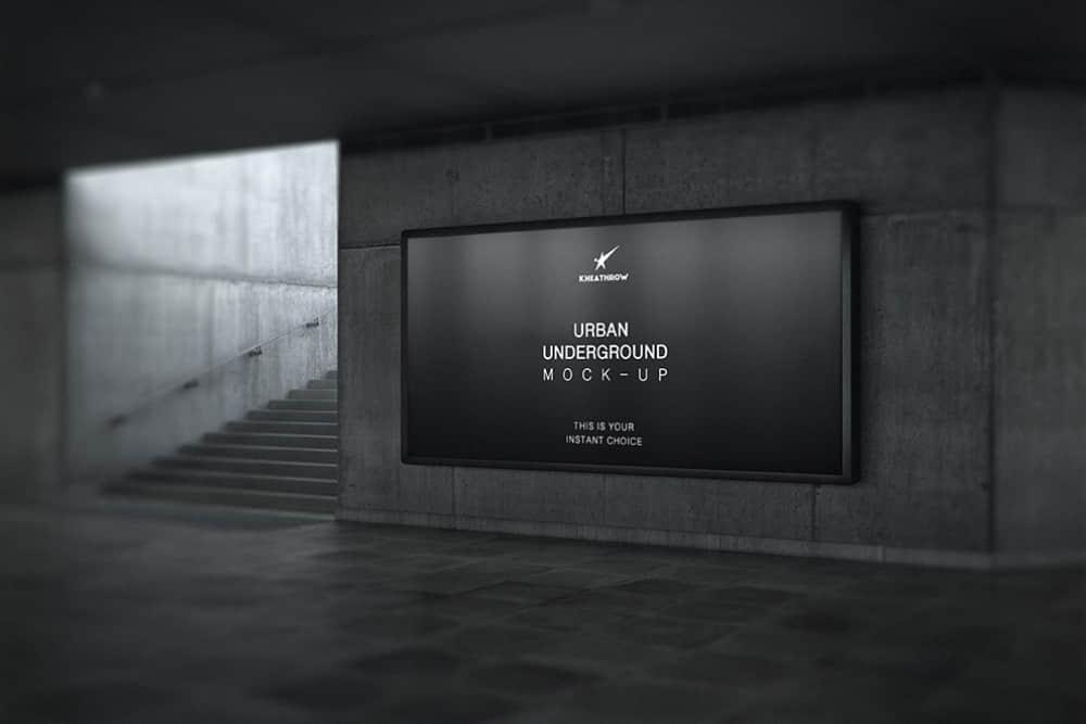 人行隧道广告位样机地铁站广告位展示图mockup海报展示效果图