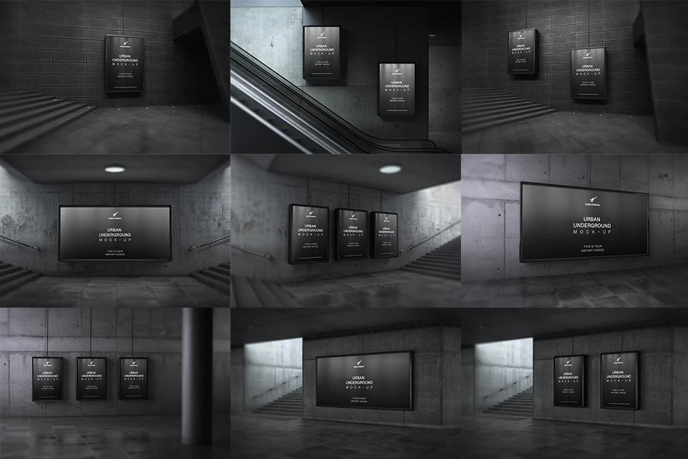 人行隧道广告位样机地铁站广告位效果图合集