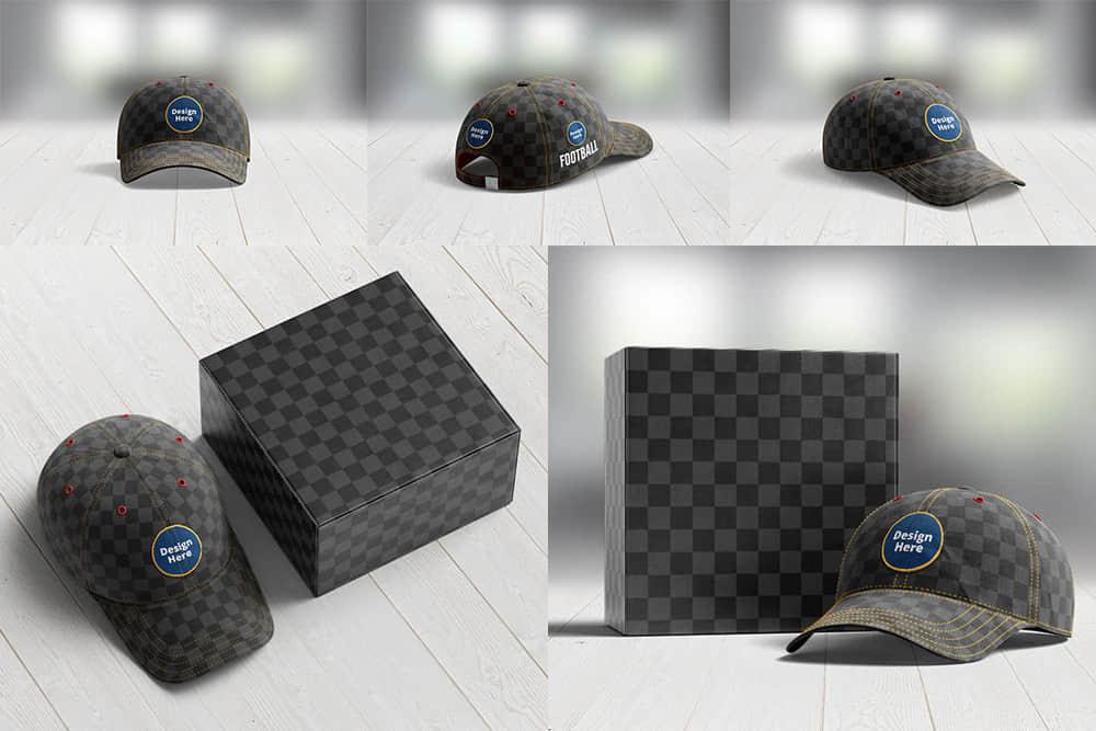 棒球帽效果图企业VIS智能贴图鸭舌帽样机PS分层素材
