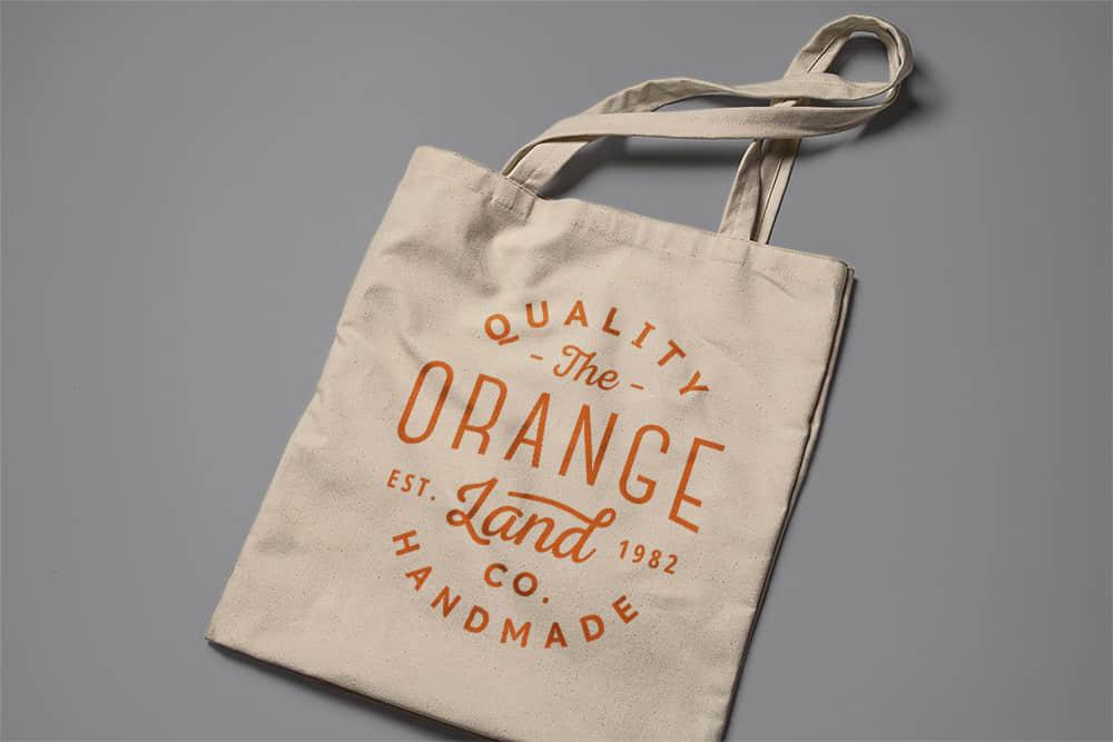 logo展示psd样机环保购物袋帆布袋效果图