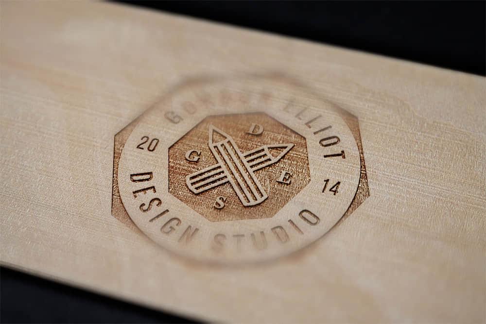 logo展示psd样机木雕效果图木纹激光刻字