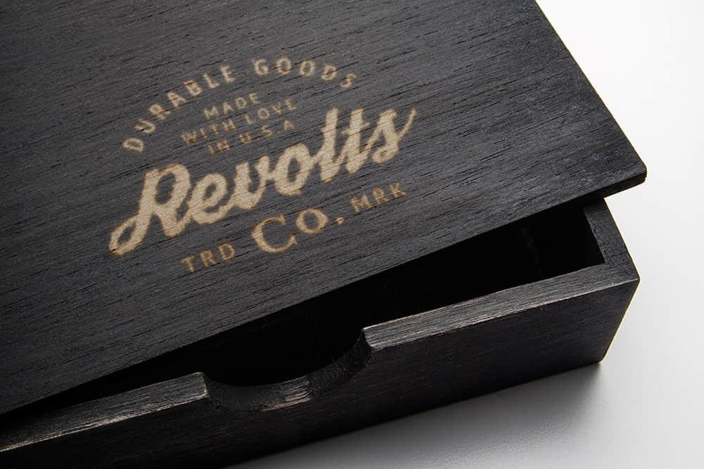 logo展示图psd样机黑色木盒效果图