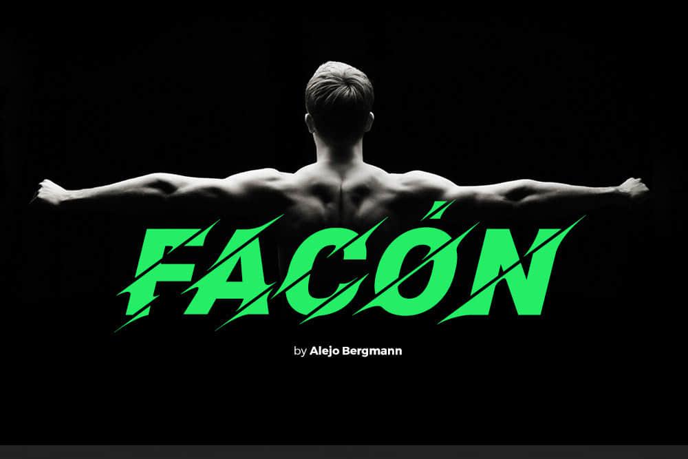 免费可商用的个性运动英文字体Facon