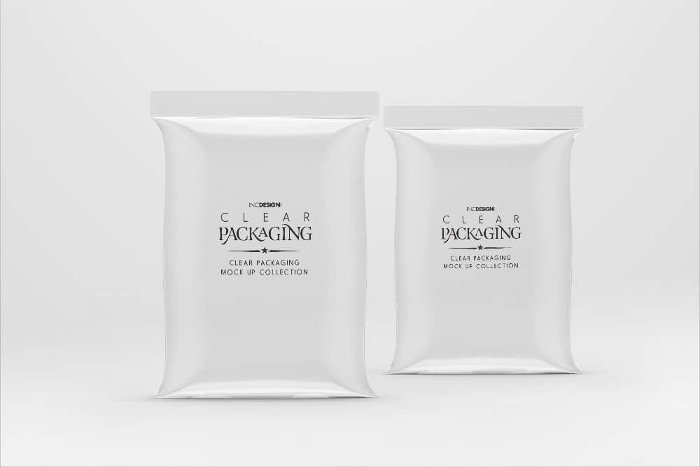 透明塑料食品包装袋饼干月饼糖果面包零食密封袋 PSD智能贴图样机