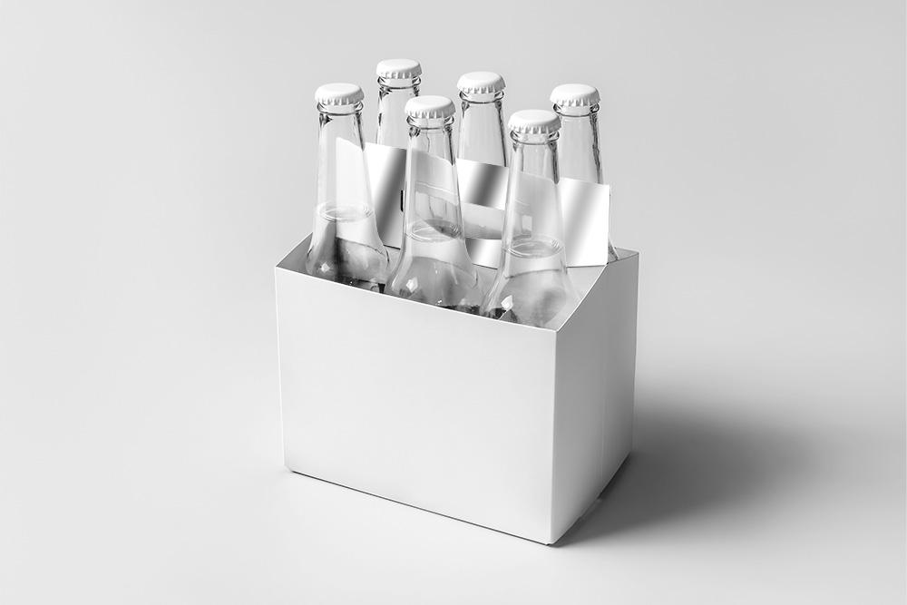 多角度玻璃瓶psd智能贴图6支啤酒瓶效果图半打玻璃汽水瓶mockup模板