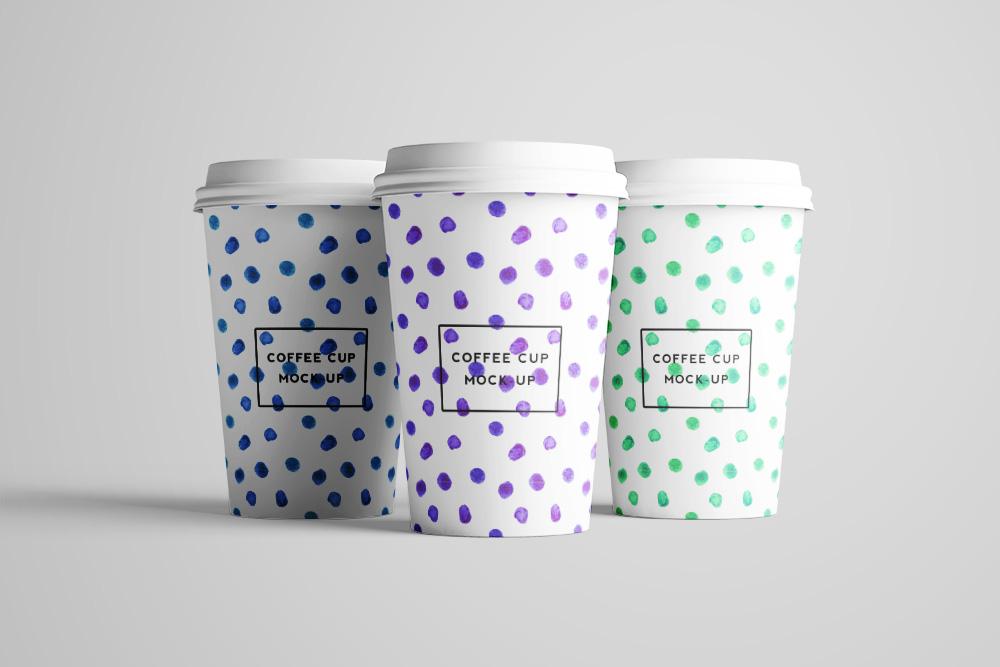 外带咖啡杯样机一次性热饮杯效果图奶茶纸杯PSD模板