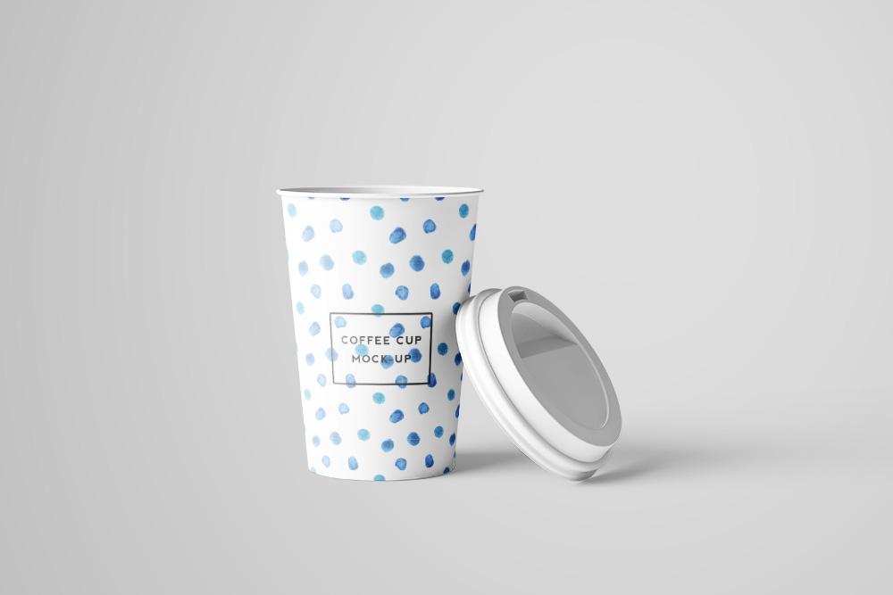 带盖热饮纸杯PSD模板奶茶杯效果图外带一次性咖啡杯样机