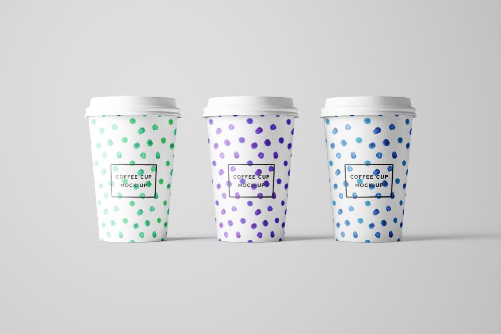 带盖热饮纸杯效果图奶茶杯外带一次性咖啡杯样机PSD模板