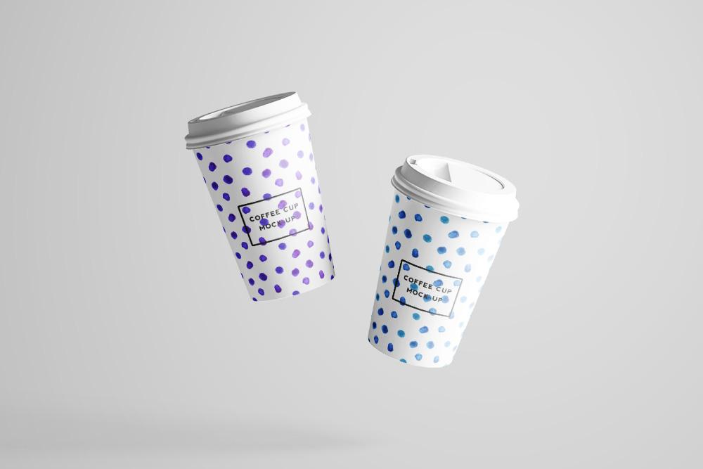 外带一次性咖啡杯样机PSD模板带盖热饮纸杯效果图奶茶杯
