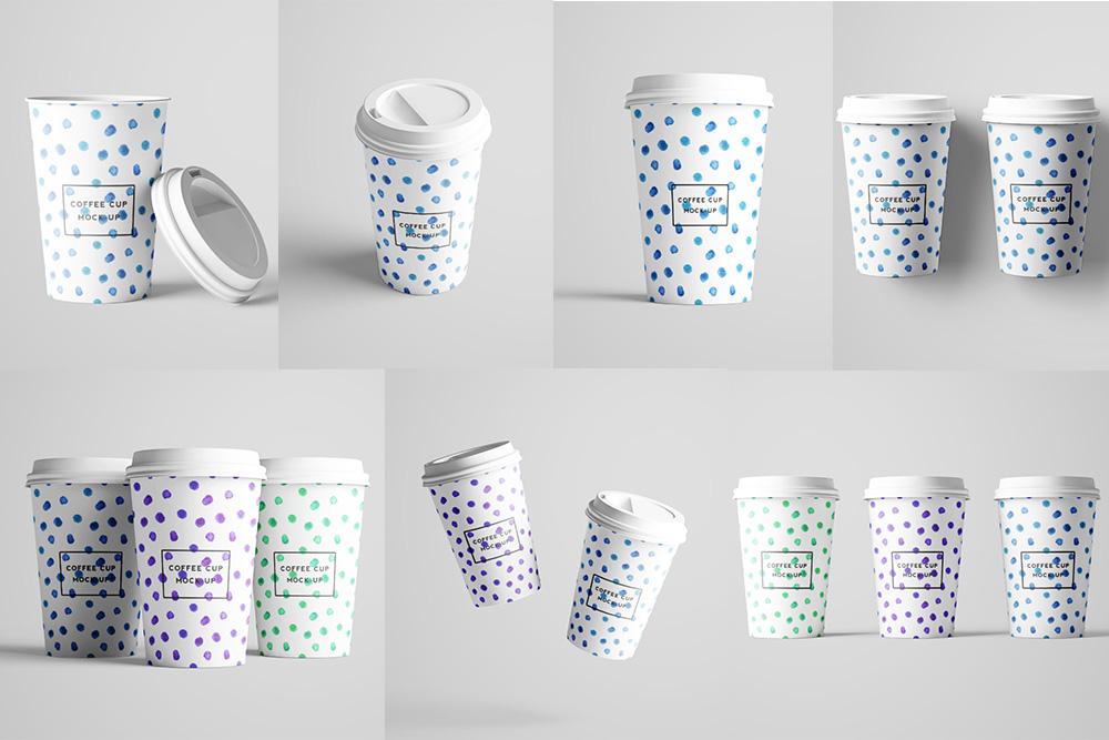 外带一次性咖啡杯样机奶茶杯PSD模板带盖热饮纸杯效果图合集