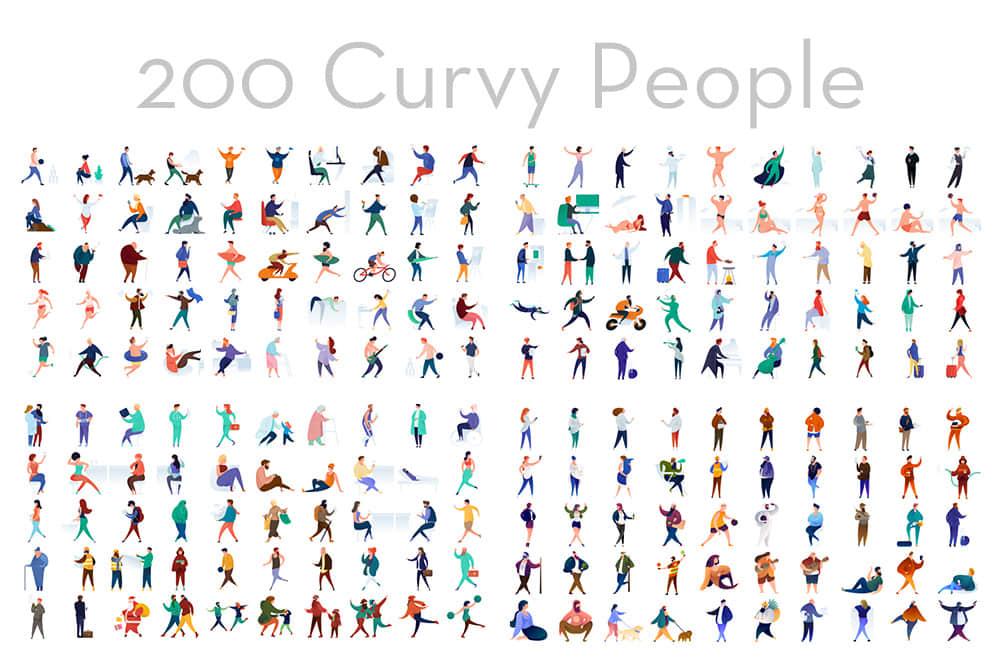 200个矢量人物插画UI人物插画矢量图素材AI格式合集