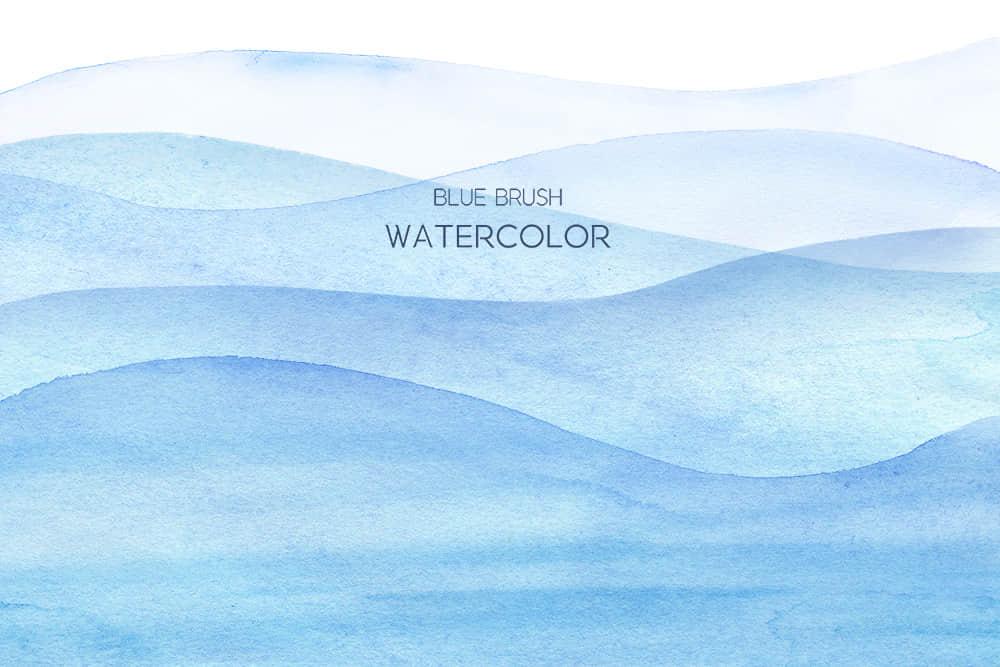 蓝色波浪水墨纹理墨晕背景水彩海浪
