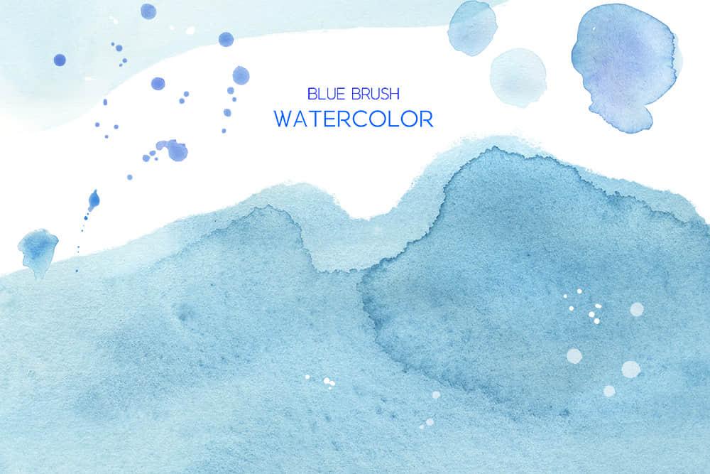 蓝色海浪水墨背景波浪水彩纹理清新水墨背景