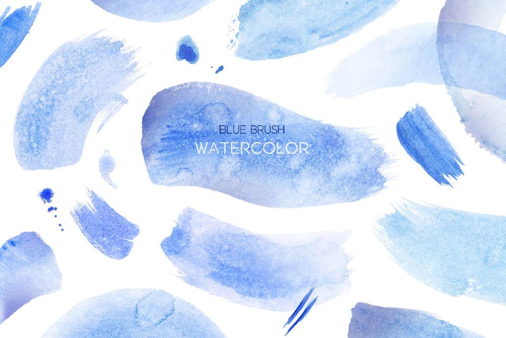 蓝色海浪水墨笔刷波浪水彩笔刷清新水墨纹理