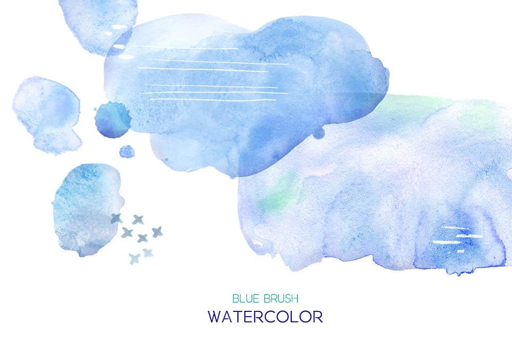 蓝色水彩墨迹纹理水墨笔刷纹理