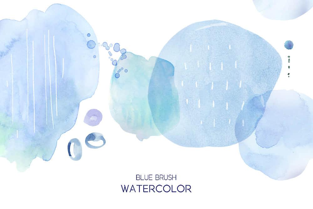 蓝色水墨笔刷水彩墨晕笔刷清新水墨纹理