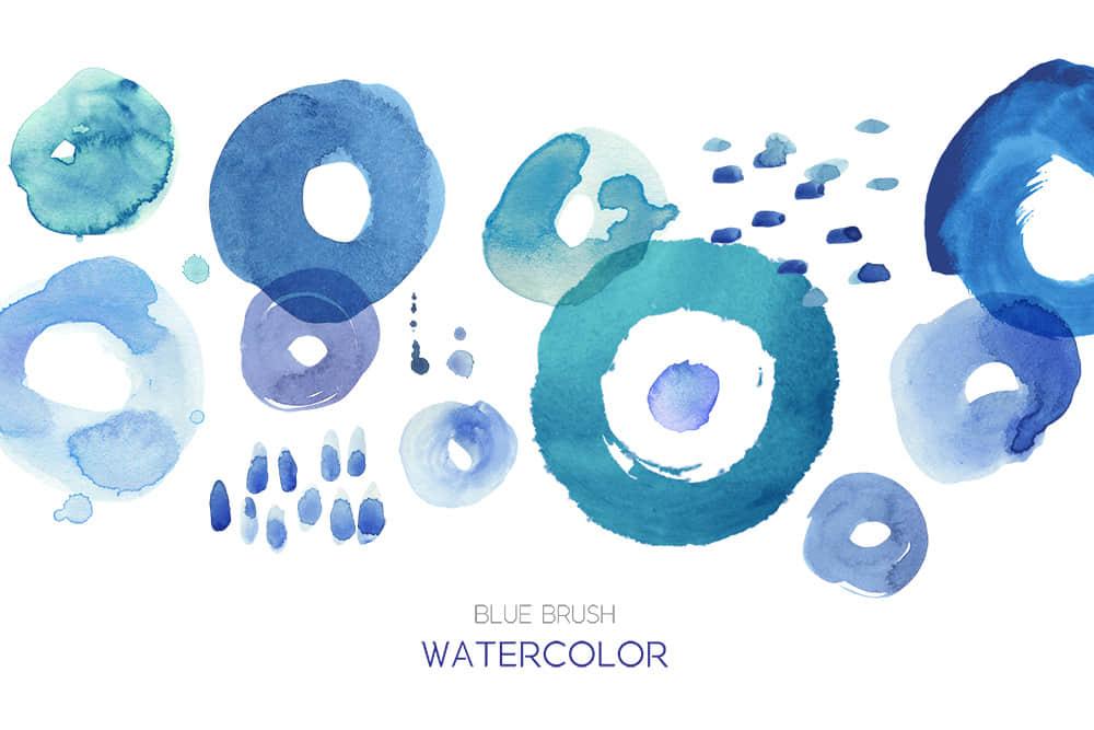 蓝色水墨纹理笔刷水彩墨晕小清新纹理背景