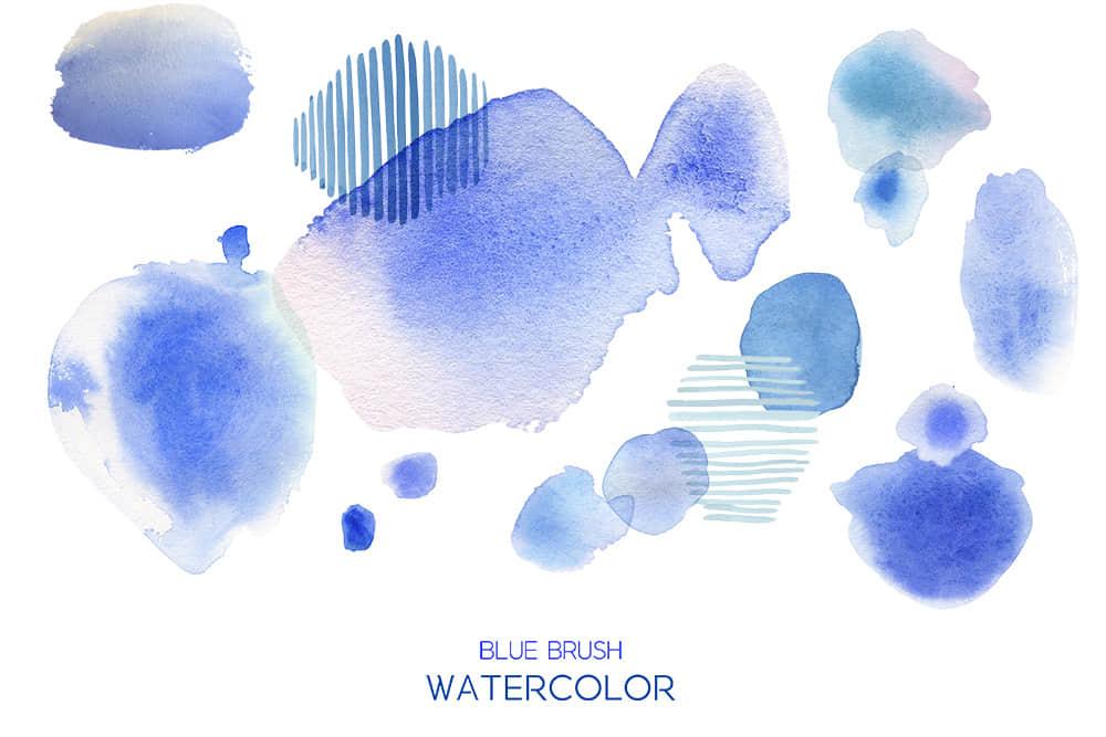 水彩墨晕蓝色水墨波浪笔刷