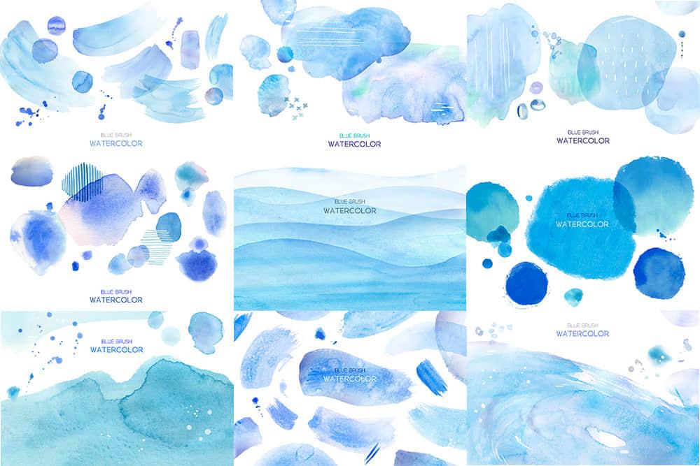 蓝色水彩纹理水墨笔刷psd免扣素材合集