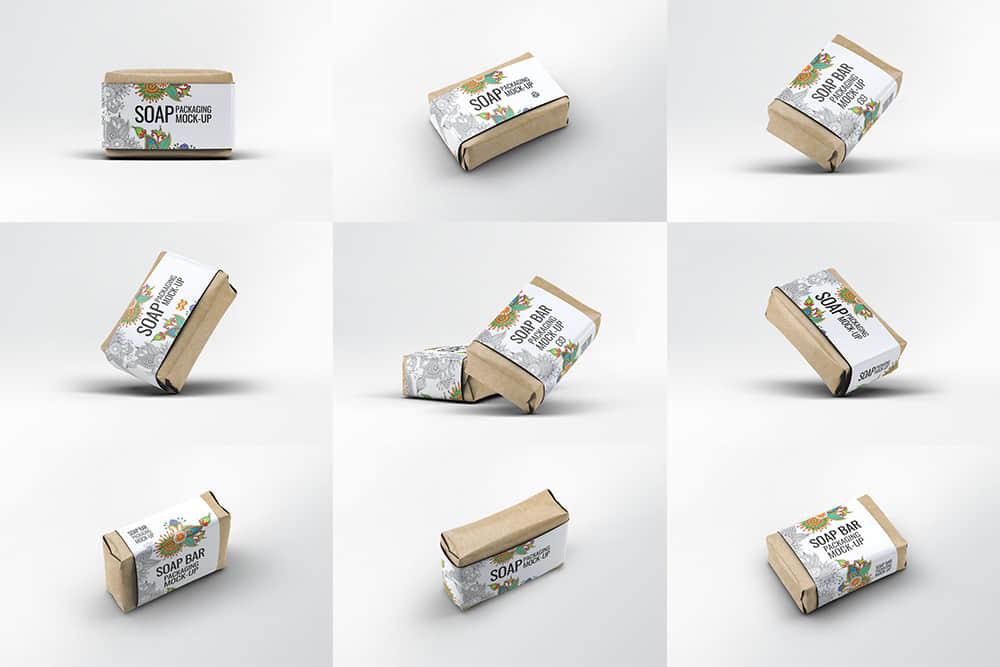 肥皂包装样机牛皮纸加白卡腰封包装mockup简单包装设计样机合集