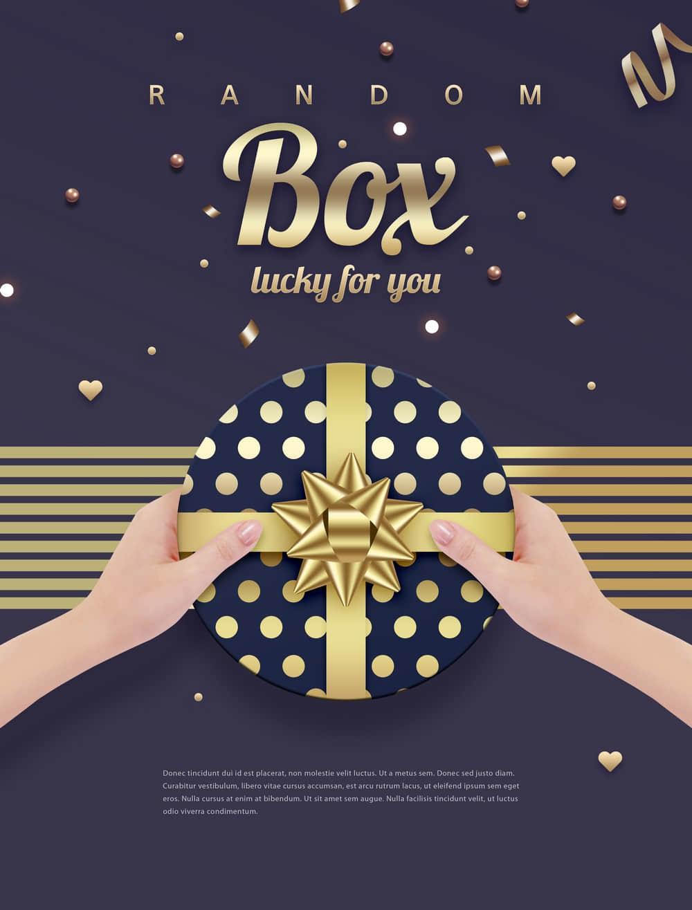 礼物盒促销海报节假日送礼情人节促销海报