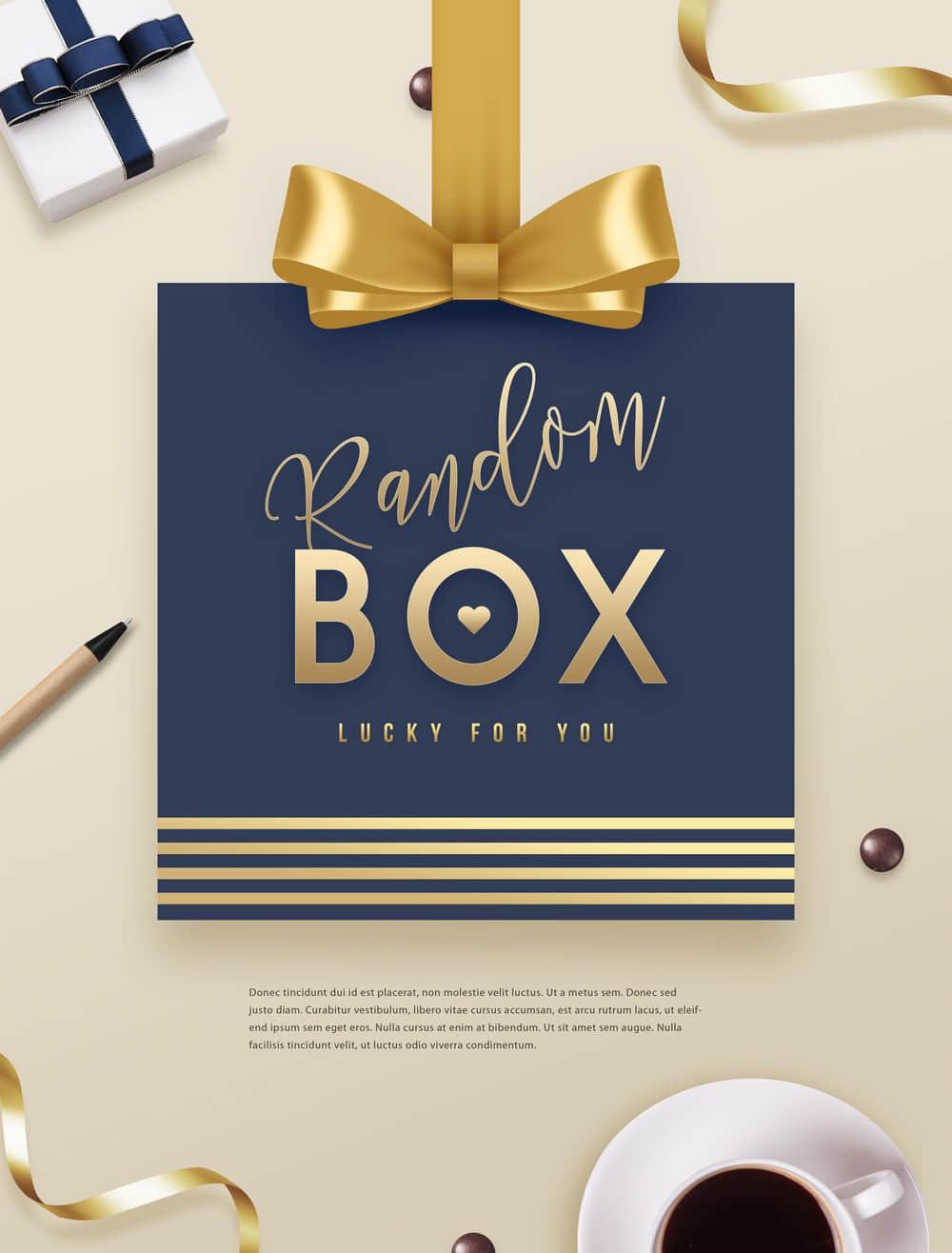 礼物盒子神秘惊喜促销海报优惠券卡片
