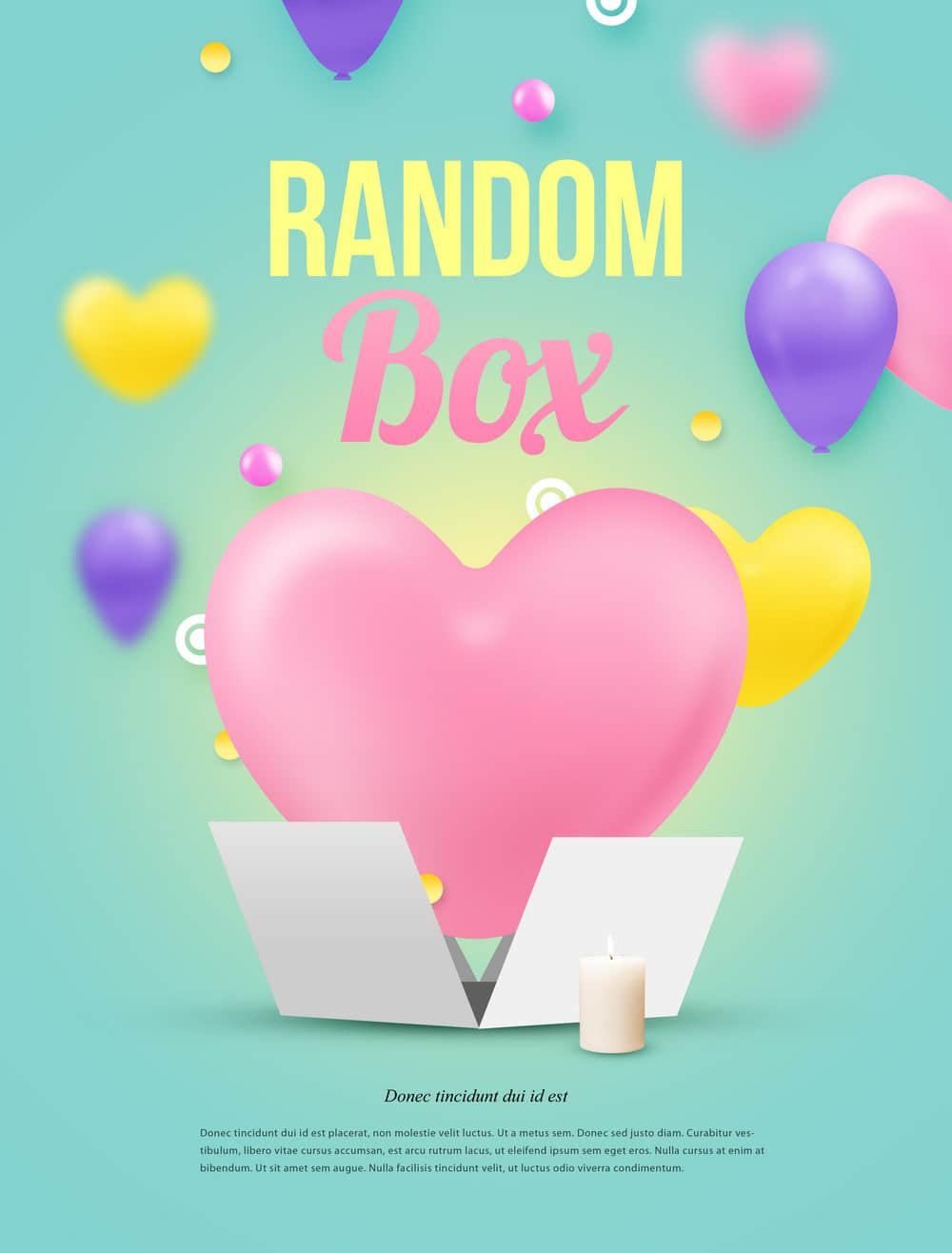 情人节促销海报表白贺卡粉色爱心多彩气球促销海报