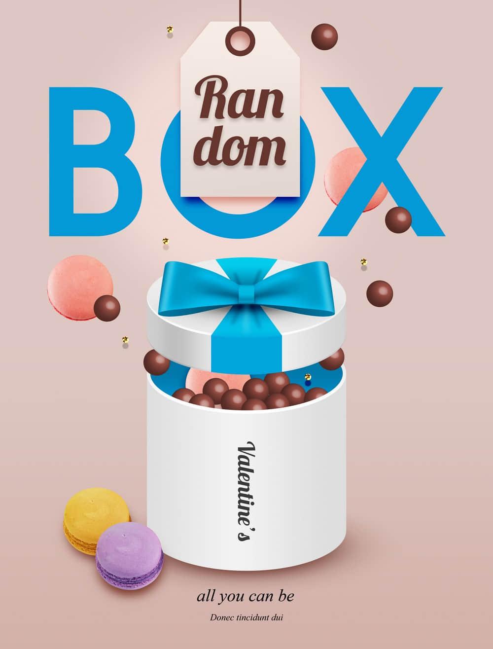 情人节促销海报马卡龙甜品巧克力礼物盒促销海报