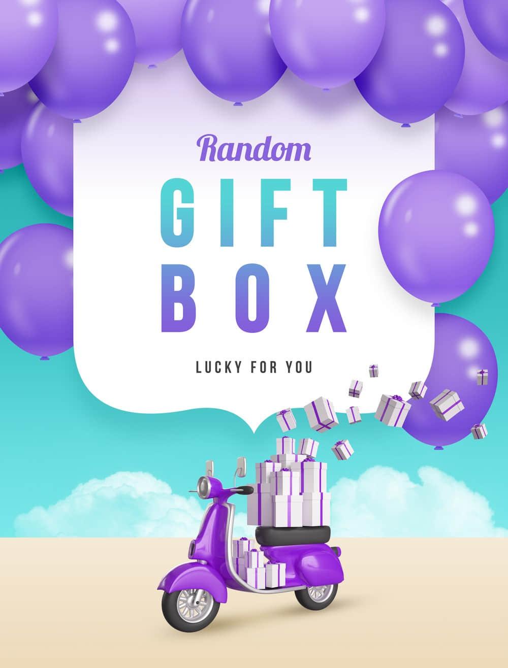紫色气球礼物盒子海报礼品促销送礼