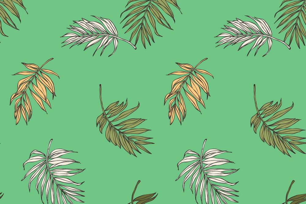 热带植物ins风格背景矢量背景设计素材图案
